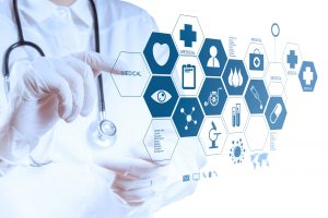 Medicine doctor hand working with modern computer interface.
