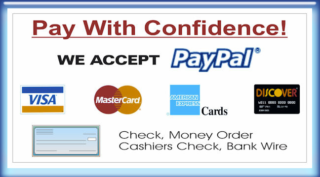 Payments Accepted: Debit/Credit Cards, Cash, Checks, PayPal